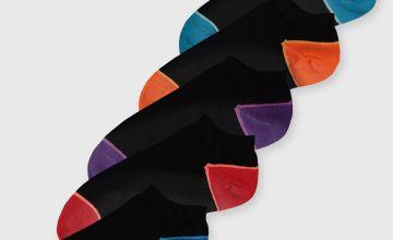 Black Contrasting Heel & Toe Trainer Socks 5 Pack
