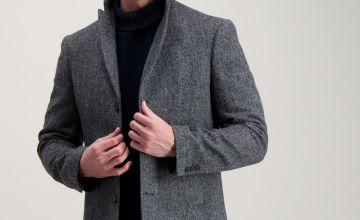 Grey British Wool Tailored Fit Herringbone Coat