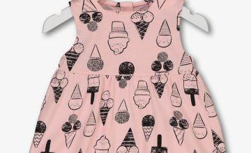 Pink Ice Cream Print Jersey Dress