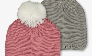Multicoloured Knitted Beanie 2 Pack