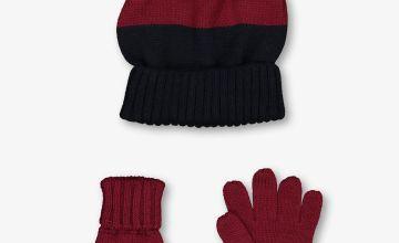 Purple & Navy Block Stripe Hat & Gloves Set