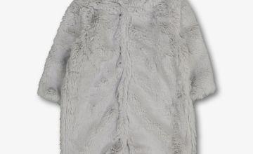Grey Teddy Faux Fur All In One