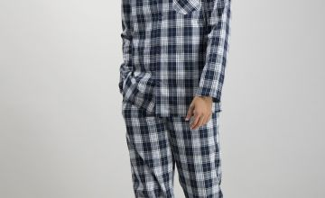 Navy & White Check Traditional Pyjamas