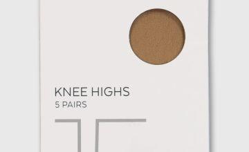 Caramel Nude Basic Knee Highs 15 Denier 5 Pack - One Size
