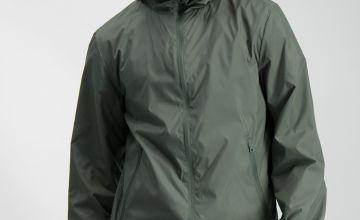 Khaki Shower Resistant Mac With Fleece Hood