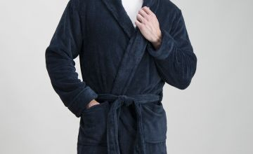 Navy Fleece Soft Dressing Gown