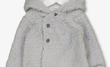 Grey Teddy Faux Fur Hooded Cardigan
