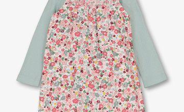 Multicoloured Floral Print Dungarees & Bodysuit