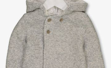 Grey Hooded Knitted Cardigan