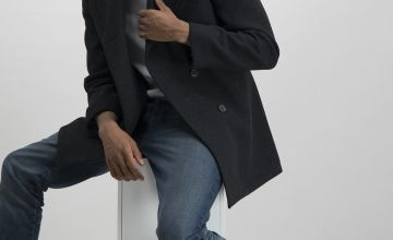 Charcoal Grey Tailored Fit Peacoat With Wool