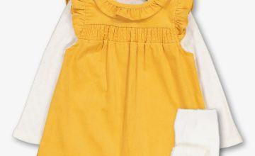 Mustard & Cream Pinafore, Bodysuit & Tights Set