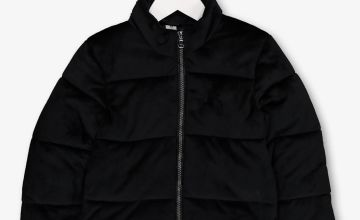 Black Velour Padded Coat