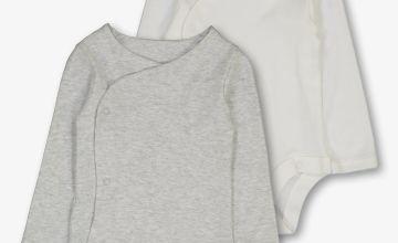 White & Grey Marl Long Sleeve Bodysuit 2 Pack