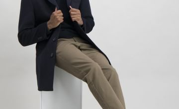 Navy Tailored Fit Overcoat With Wool