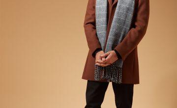 Tobacco Brown Slim Fit Wool Blend Overcoat