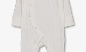 White Textured Rib Long Sleeved Sleepsuit