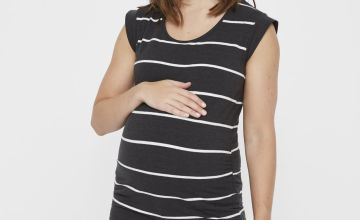 Maternity Black & White Striped Top