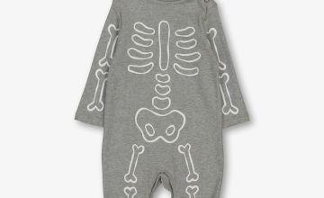 Halloween Grey Glow In The Dark Skeleton Sleepsuit Set