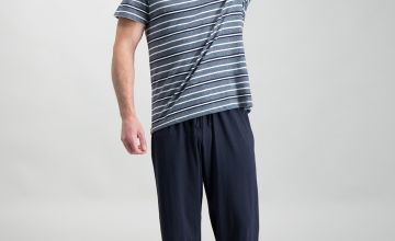 Navy Marl Stripe Pyjamas