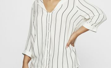 JUNAROSE White Pinstripe Shirt