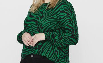 JUNAROSE Green Animal Print Blouse