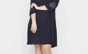 JUNAROSE Navy Lace Detail Dress