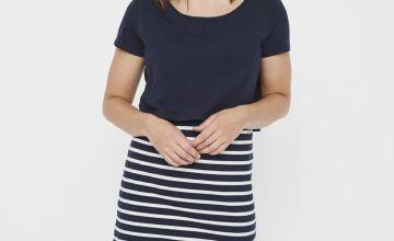 Maternity Nursing Navy Stripe Dress