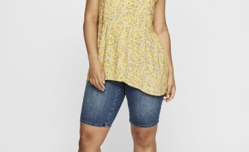 JUNAROSE Yellow Ditsy Print Top