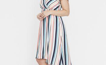 Maternity Stripe Midi Dress