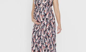 Maternity Black Feather Print Midi Dress