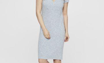 Maternity Nursing Blue Rib Jersey Dress