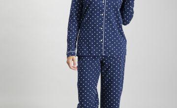 Navy Polka Dot Traditional Pyjamas
