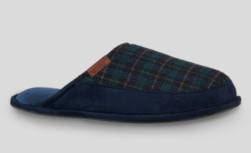 Navy Blue Check Mule Slippers