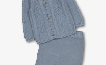 Blue Cable Knit Cardigan & Trousers Set