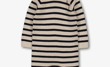 Oatmeal & Navy Stripe Knitted Romper - Up to 3 mths