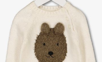 Cream Knitted Bear Face Jumper