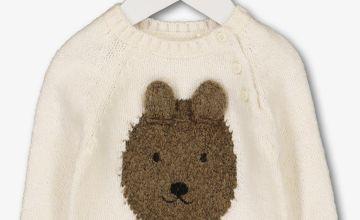 Cream Knitted Bear Face Jumper