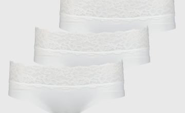 White No VPL Lace Knicker Shorts 3 Pack