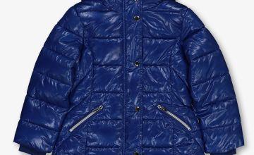 Blue Shiny Padded Coat