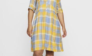 V-Neck Check Dress