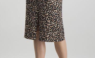 Online Exclusive Brown Animal Print Pencil Skirt