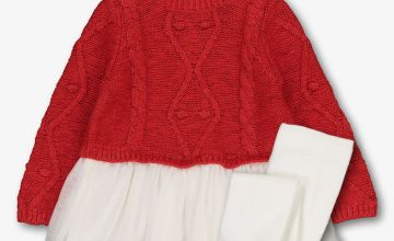 Red & White Knitted Upper Dress & Tights