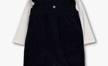 Navy Corduroy Romper & White Bodysuit