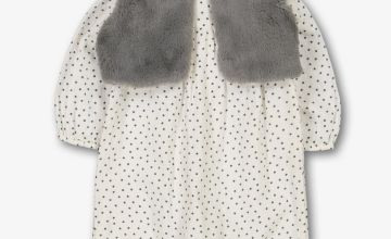 Cream Star Romper & Grey Faux Fur Gilet