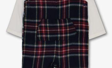 Multicoloured Tartan Romper & Bodysuit Set