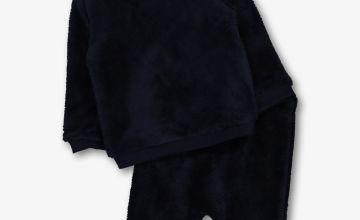 Navy Blue Fluffy Sweatshirt & Jogger Set