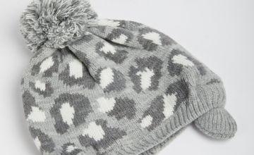 Grey Leopard Print Beanie Hat