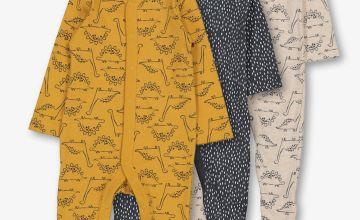 Multicoloured Dinosaur Sleepsuit 3 Pack