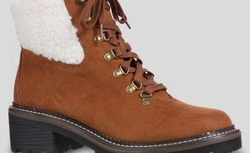 Sole Comfort Tan Hiker Lace Up Borg Cuff Boots