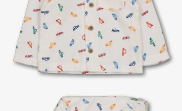 White Car Print Woven Pyjamas